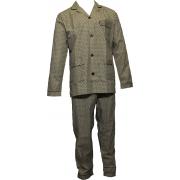 Gentlemen heren pyjama Poplin 'Dots' bruin